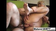 Bouncing Mature blonde MILF receives a hard Thumb
