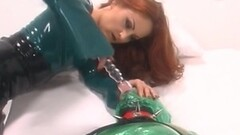 Cute Redhead dominatrix playing with fully taped sub Thumb