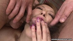 Sexy Asian gangbanged while restrained slut watches the show Thumb