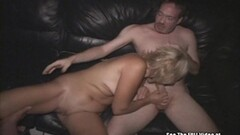 Blonde milf gobbles down this hard dick Thumb