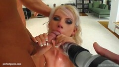 Blonde plastered with cum Thumb